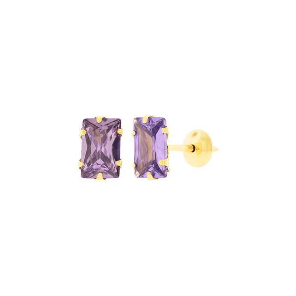 Brinco de Ouro 18K Zircônia Lilás Baguete