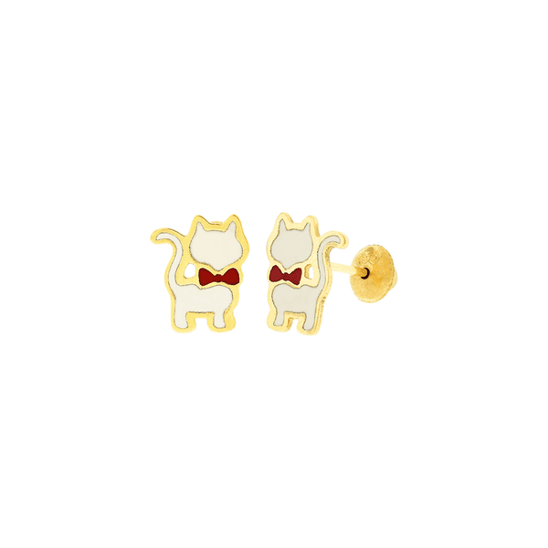 Brinco Infantil de Ouro 18K Gatinho Esmaltado