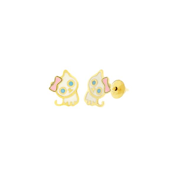 Brinco Infantil de Ouro 18K Gato de Laço Esmaltado