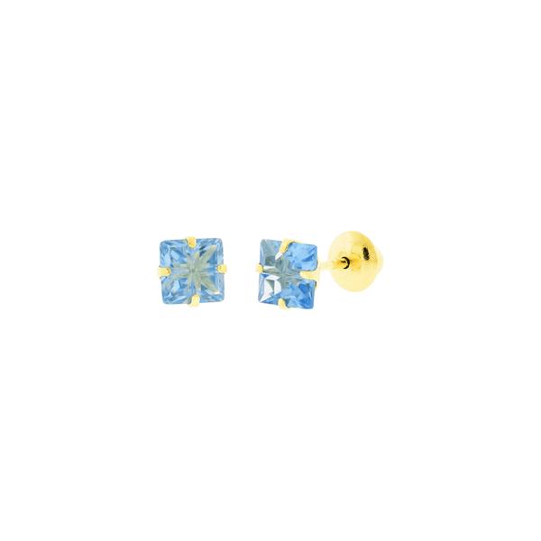 Brinco de Ouro 18K Zirconia Carre Azul Lapidada
