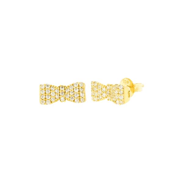 Brinco Laço Cravejado de Zirconias em Ouro 18K