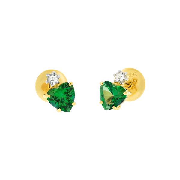 Brinco de Ouro 18K Pedra de Topázio Verde em Coração