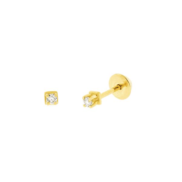 Brinco Solitário de Brilhante em Ouro 18K 0,06ct
