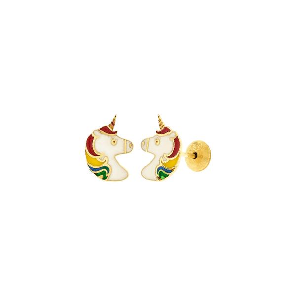 Brinco Infantil de Ouro 18K Unicórnio Esmaltado Colorido