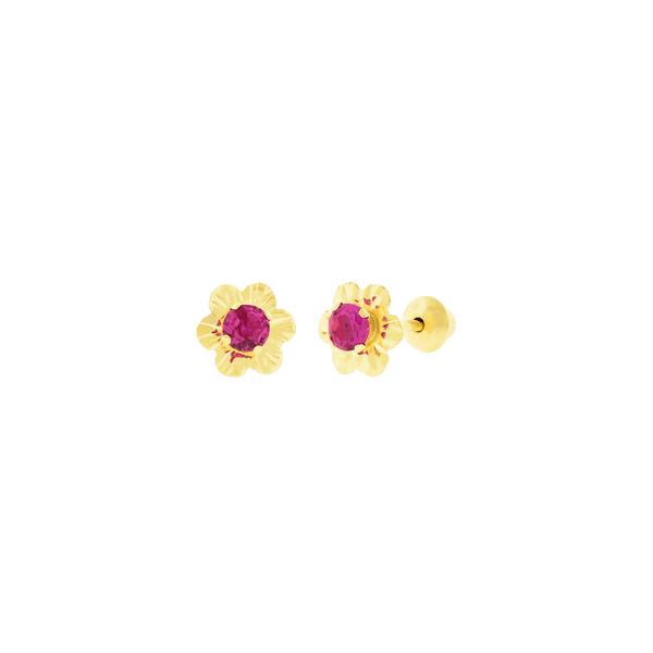 Brinco de Ouro 18K Florzinha com Zirconia Vermelha
