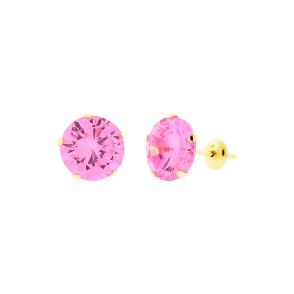 Brinco de Ouro 18K Zircônia Rosa 8mm
