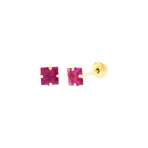Brinco de Ouro 18K Zircônia Vermelha Quadrada 3mm