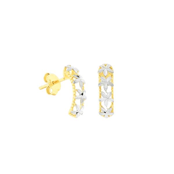 Brinco Retangular de Ouro 18K Detalhe Flores Bicolor