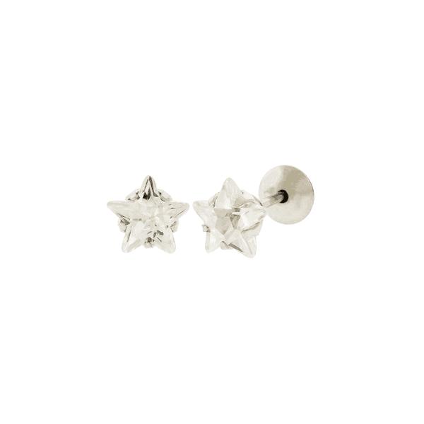 Brinco de Ouro Branco 18K Estrela de Zircônia 5mm