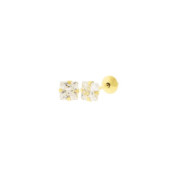 Brinco de Ouro 18K Zircônia Carre 3mm
