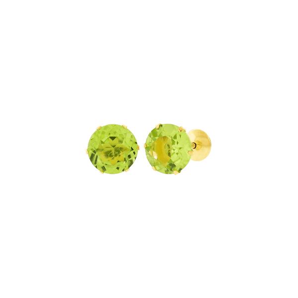 Brinco de Ouro 18K Pedra Peridoto 6mm