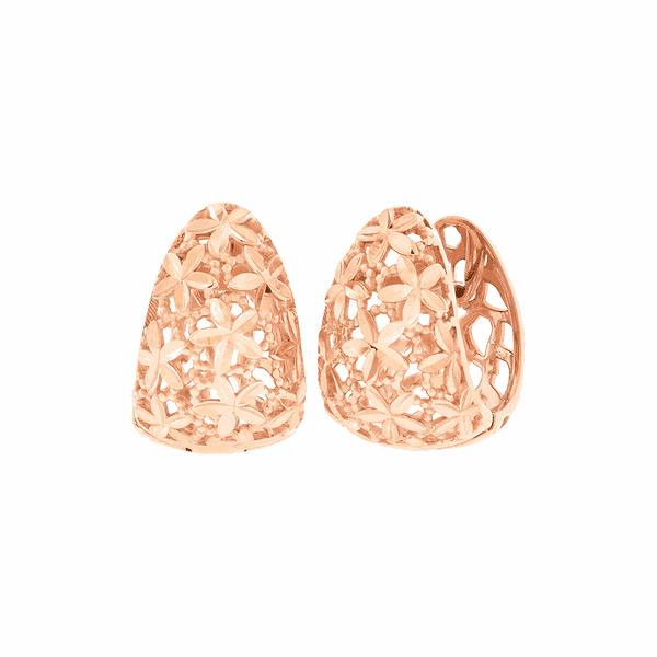 Brinco de Ouro Rosé 18K Detalhe Flores Diamantado Fecho Trava