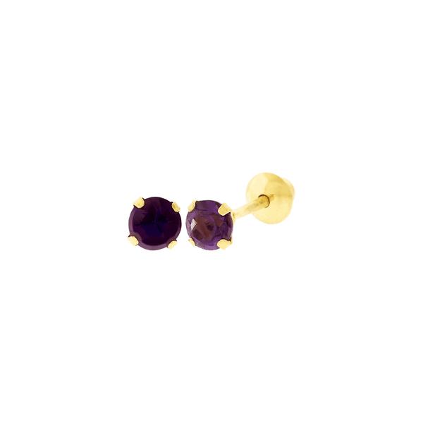 Brinco de Ouro 18K Pedra Ametista 3mm