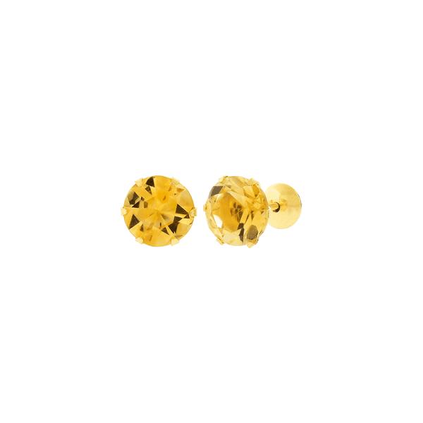 Brinco de Ouro 18K Pedra Citrino 6mm