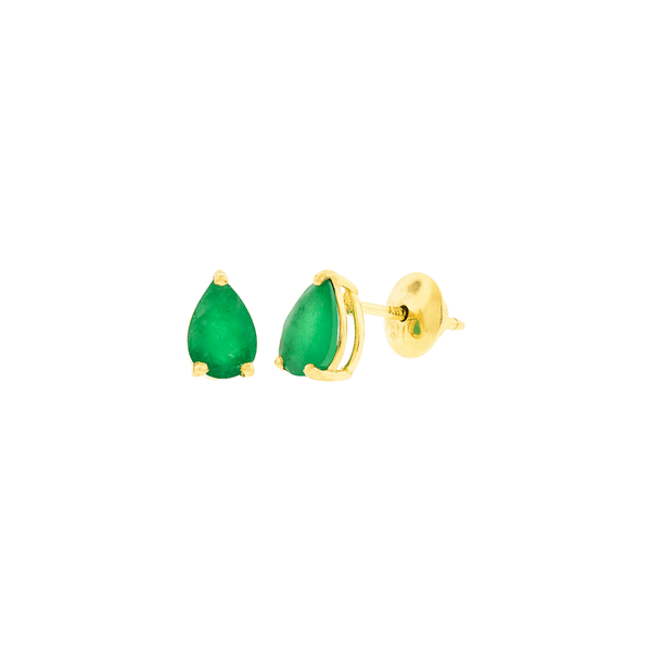 Brinco Pedra de Esmeralda Gota Ouro 18K
