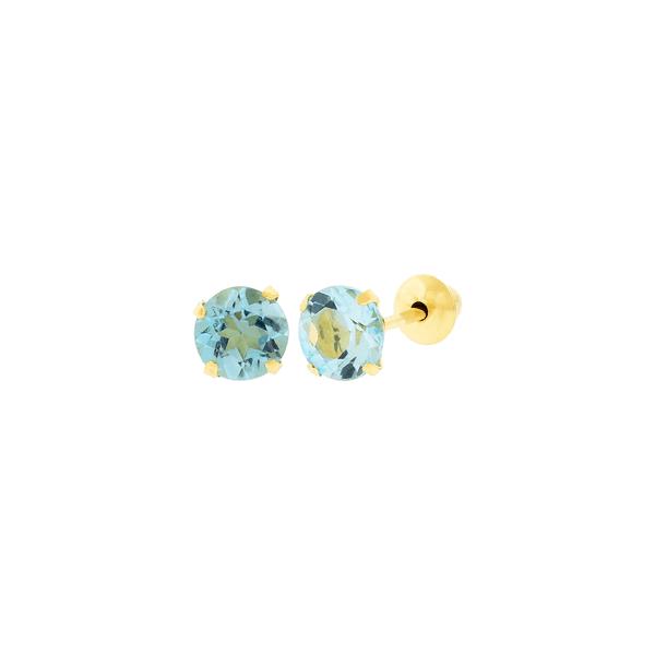 Brinco de Ouro 18K Pedra Topázio Swiss 4mm