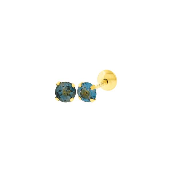 Brinco de Ouro 18K Topázio London 3mm