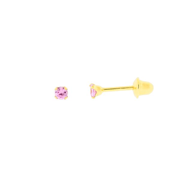 Brinco com Zirconia Rosa Ouro 18K - 2mm