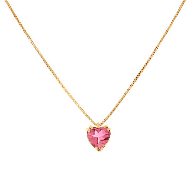 Gargantilha Ouro Rosé 18K Coração de Turmalina Rosa