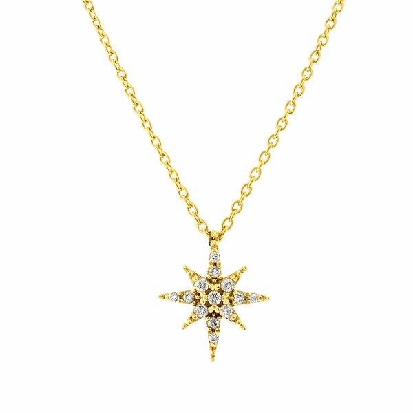 Gargantilha Estrela de Ouro 18K com Brilhantes