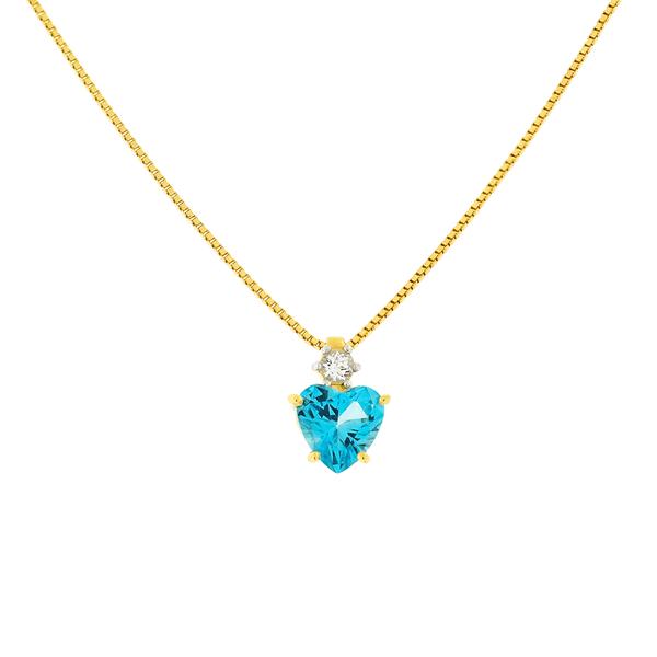 Gargantilha Ouro 18K Coração Pedra de Topázio Azul