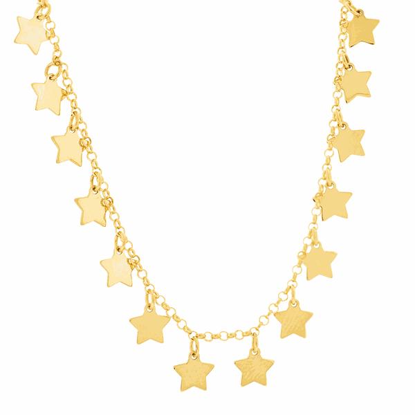 Gargantilha em Ouro 18K Choker com Estrelas Penduradas