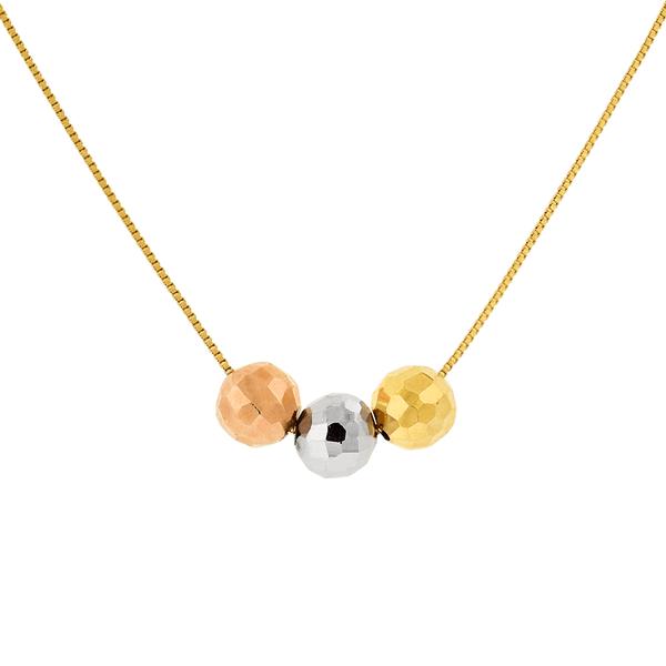 Gargantilha de Ouro 18K Tricolor com 3 Bolas Diamantadas