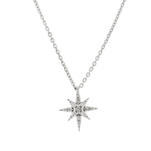 Gargantilha Estrela de Ouro Branco 18K com Brilhantes