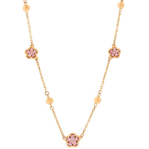 Gargantilha de Ouro Rosé 18K com Flores de Safira Rosa