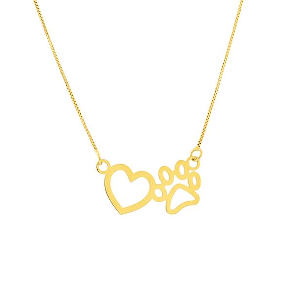 Gargantilha Ouro 18K Coração com Pata