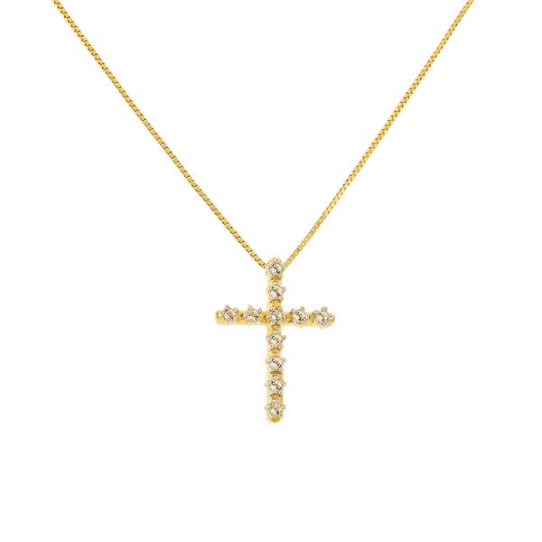 Gargantilha de Ouro 18K Pingente Cruz com Pedras de Topázio