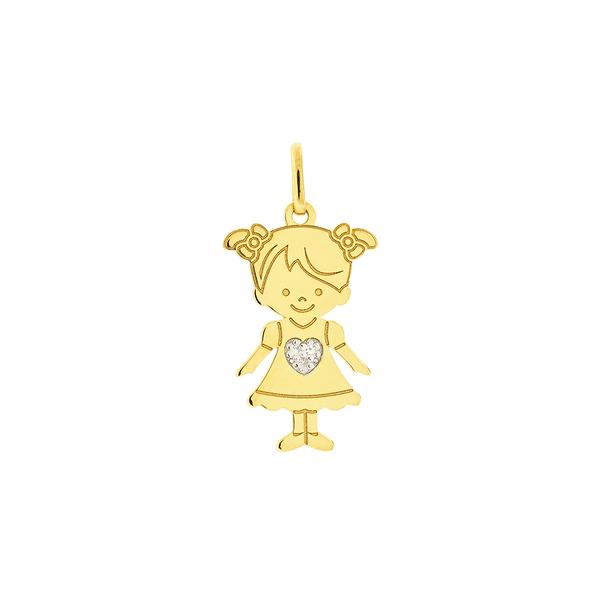 Pingente de Filha Menina de Ouro 18K com Brilhante