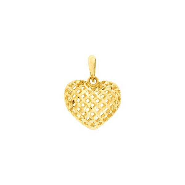Pingente de Coração em Ouro 18K Vazado e Diamantado