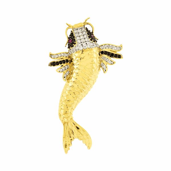 Pingente Peixe Carpa em Ouro 18K com Zircônias