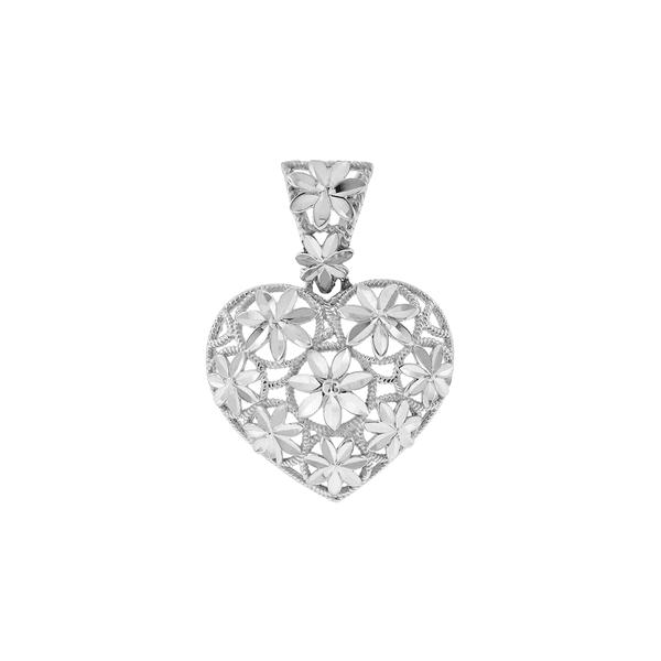 Pingente de Coração Ouro Branco 18K Flores Diamantadas