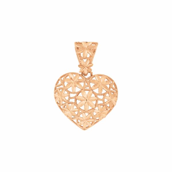 Pingente de Coração Grande em Ouro Rosé 18K
