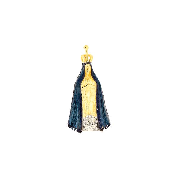 Pingente de Nossa Senhora Aparecida em Ouro 18K Manto Azul
