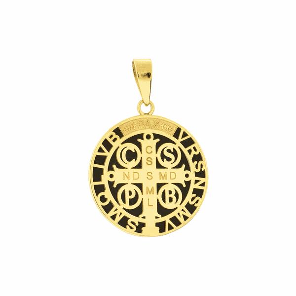 Pingente Ouro 18K Medalha de São Bento Aplique de Resina Médio