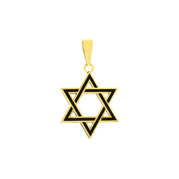 Pingente Estrela de Davi em Ouro 18K Esmaltado