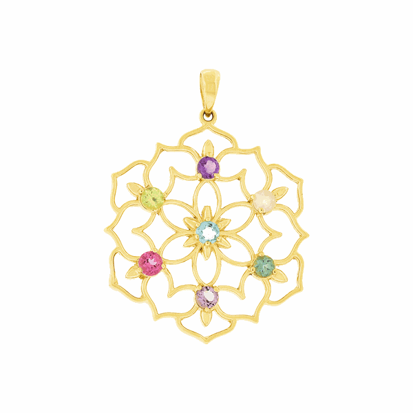 Pingente Mandala de Ouro 18K com Pedras Naturais Coloridas