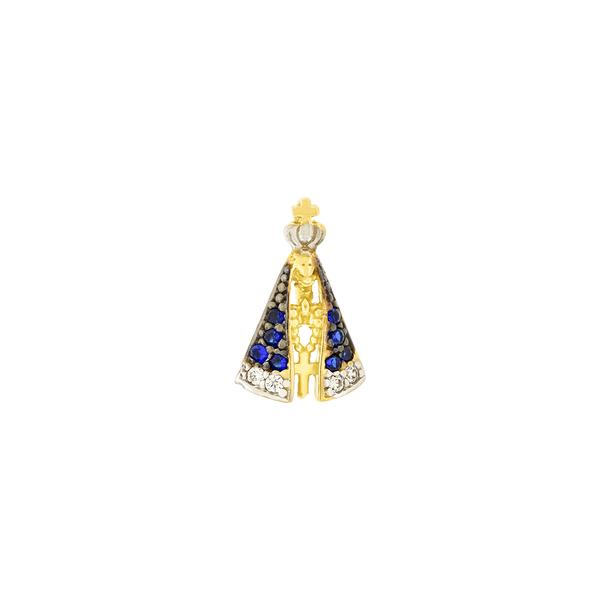 Pingente Nossa Senhora Aparecida em Ouro 18K com Zircônias Pequeno