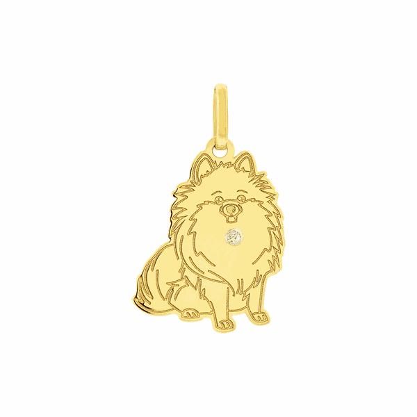 Pingente Cachorro Lulu da Pomerânia Ouro 18K