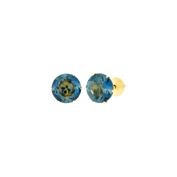 Brinco de Ouro 18K Pedra Topázio London 6mm