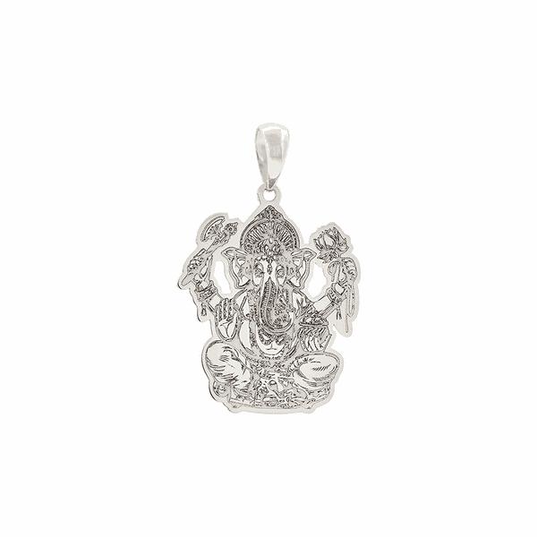 Pingente Ganesha de Ouro Branco 18K