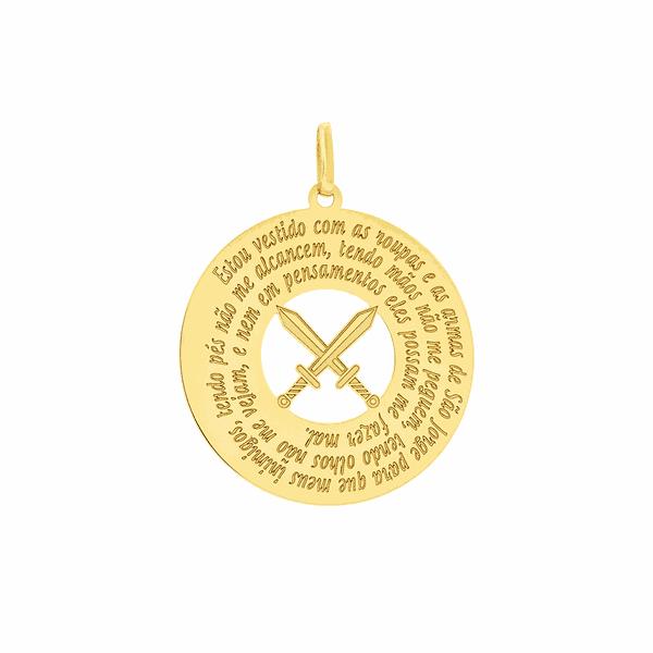 Pingente Oração São Jorge em Ouro 18K