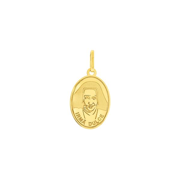 Pingente Medalha Irmã Dulce em Ouro 18K