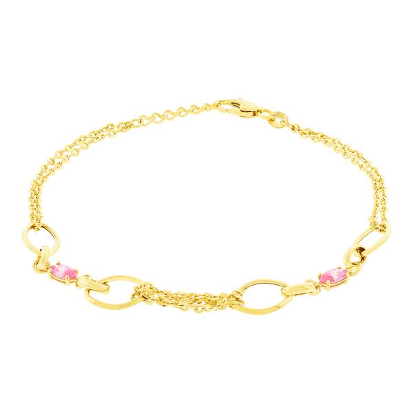 Pulseira Feminina de Ouro 18K com Pedras de Zircônia Rosa