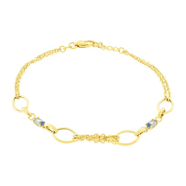 Pulseira Feminina de Ouro 18K com Pedras de Zircônia Azul