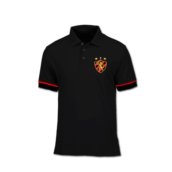 Camisa Gola Polo Torcedor - Sport Preta