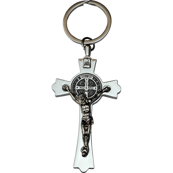 Chaveiro Cruz de São Bento Prateado Importado